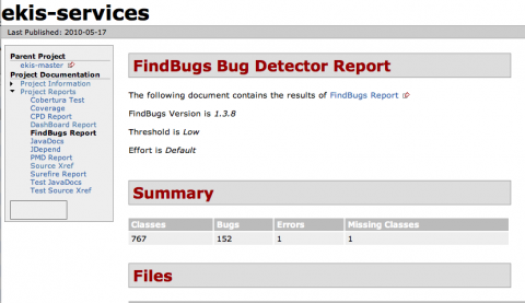 Maven FindBugs Report